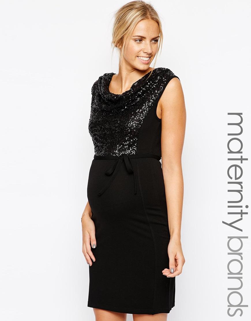 Asos Maternity - Vestido negro con brillo