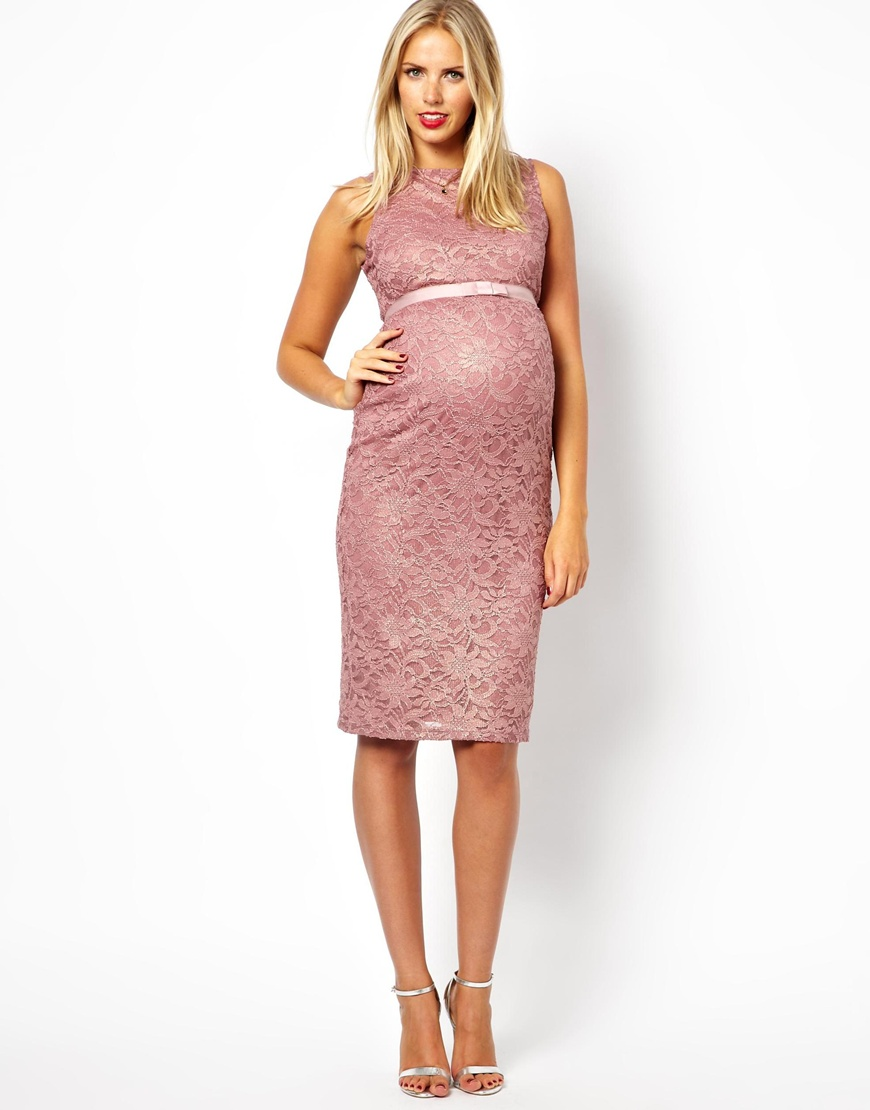 Asos Maternity - Vestido de encaje rosa