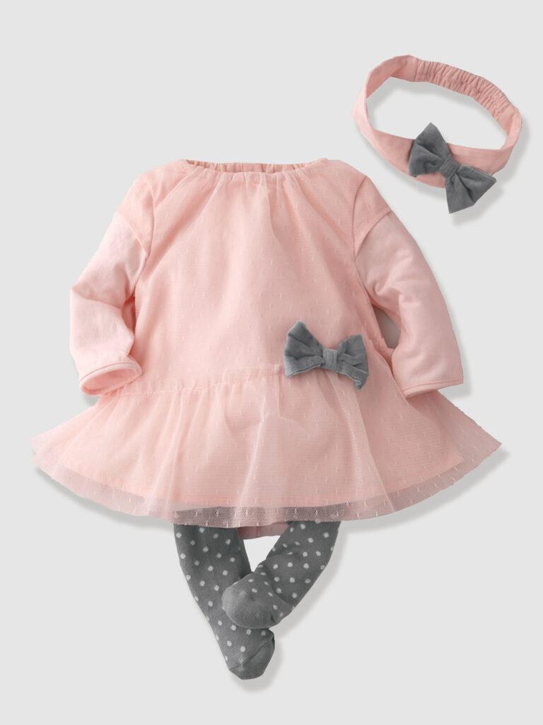 Vestido rosa para con diadema y leotardos