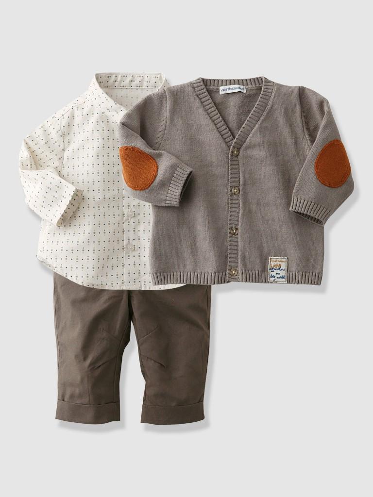 Conjunto 3 piezas con camisa y chaqueta