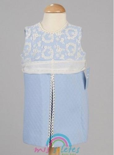 Vestido azul con bordado