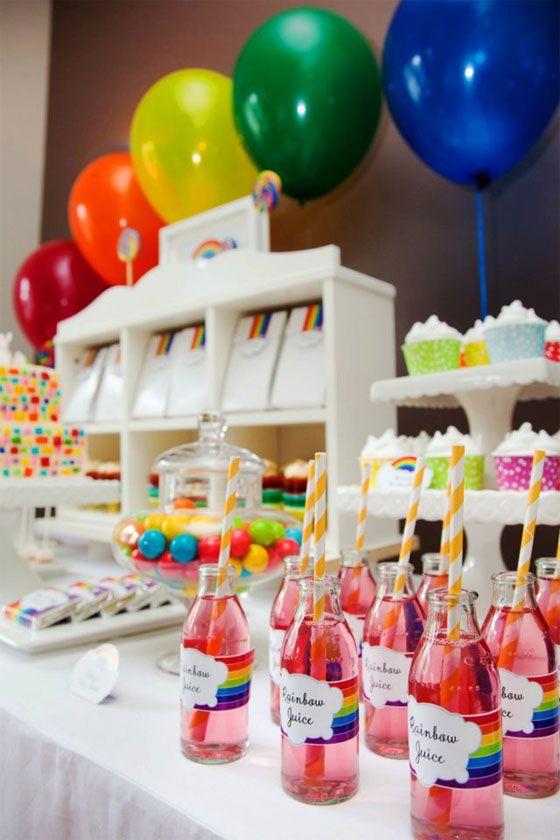Candy bar para cumpleaños de niños con zumos naturales