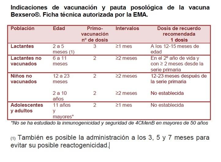 Pautas de vacunación meningitis B opiniones