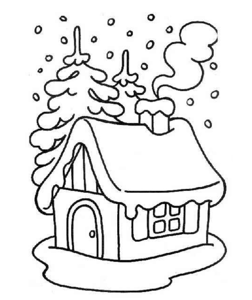 Casa Navidena Para Colorear Dibujos de una casa adornada en Navidad ...