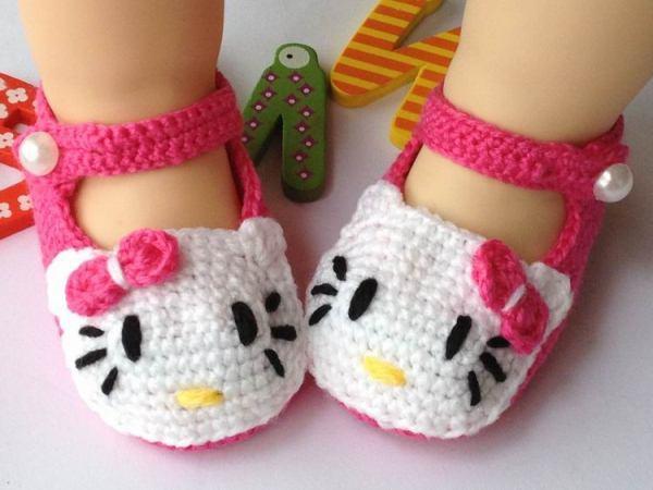 zapatos crochet para niña