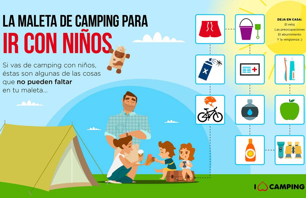 cómo acampar con niños infografia
