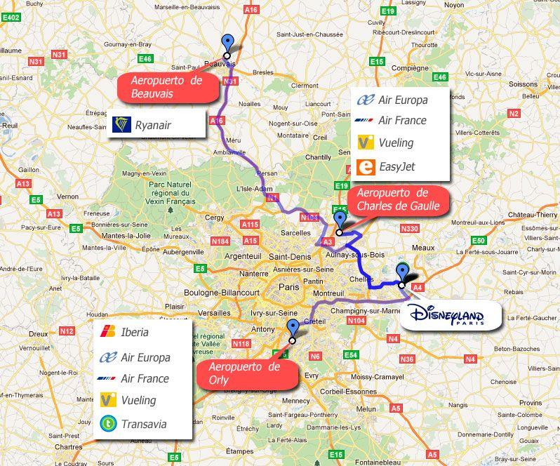 mapa aeropuertos paris francia disneyland