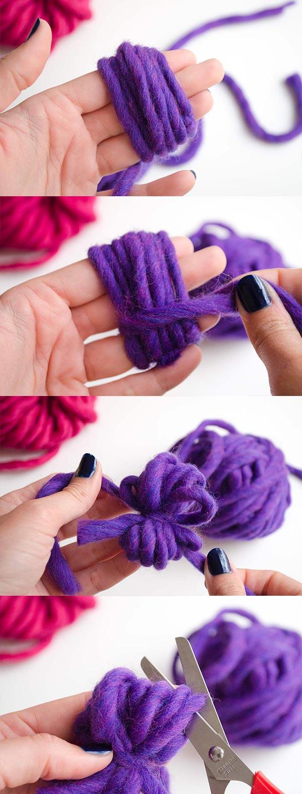 como hacer pompones de lana sin carton