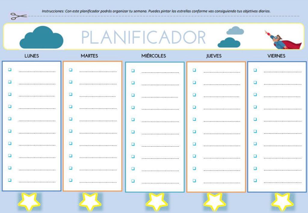 planificadores semanales pdf para niños