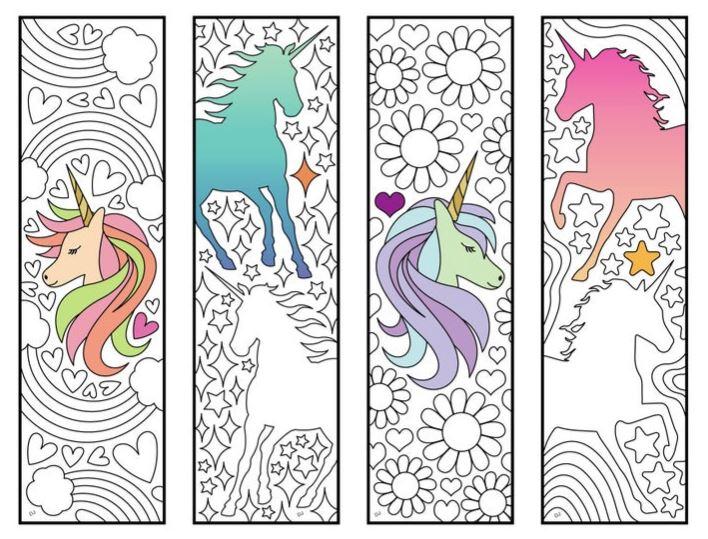 marcapaginas kawaii de unicornios para imprimir