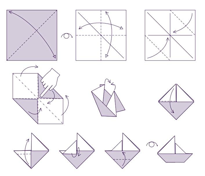 como hacer un velero de papel paso a paso
