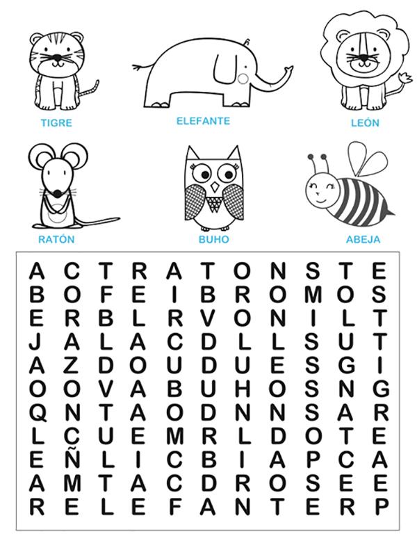 sopas de letras niños